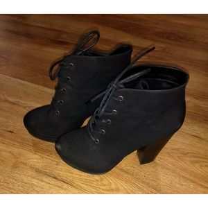 Dark gray witchy heeled boots